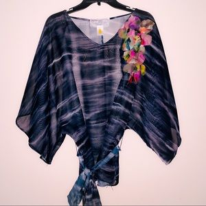 Nick & Mo Floral Appliqué Sheer Belted Tunic